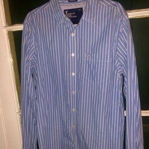 American Eagle Long Sleeve Blue Stripe Shirt LT/GL